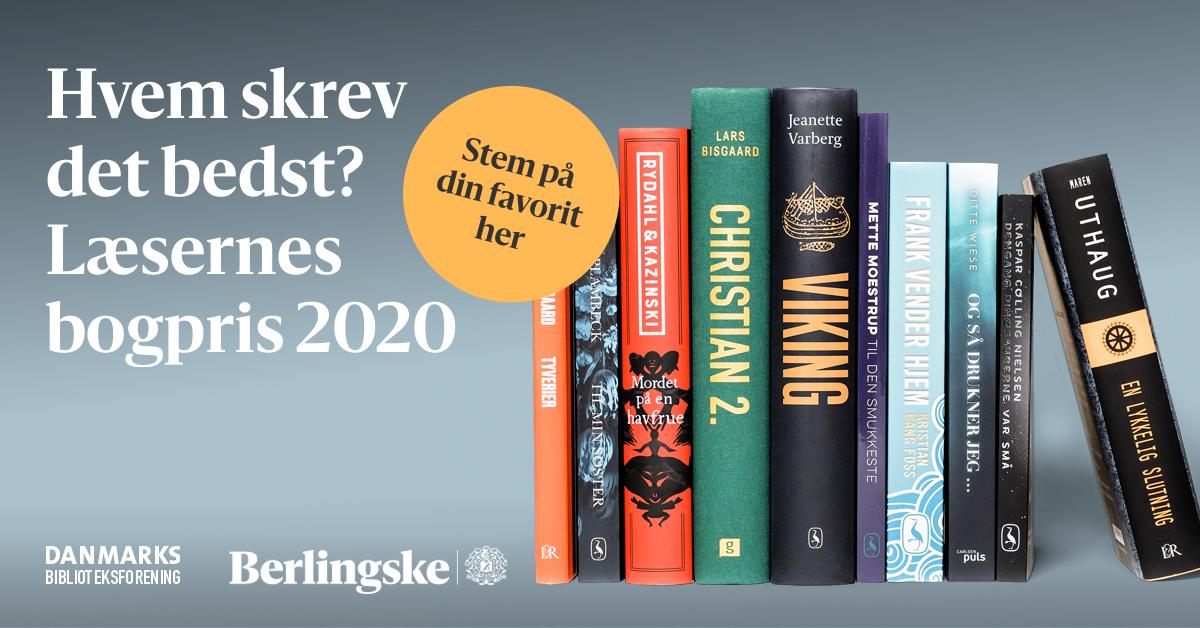 """Billede med teksten """"Hvem skrev det bedst? Læsernes Bogpris 2020"""" samt foto af de nominerede bøger."""