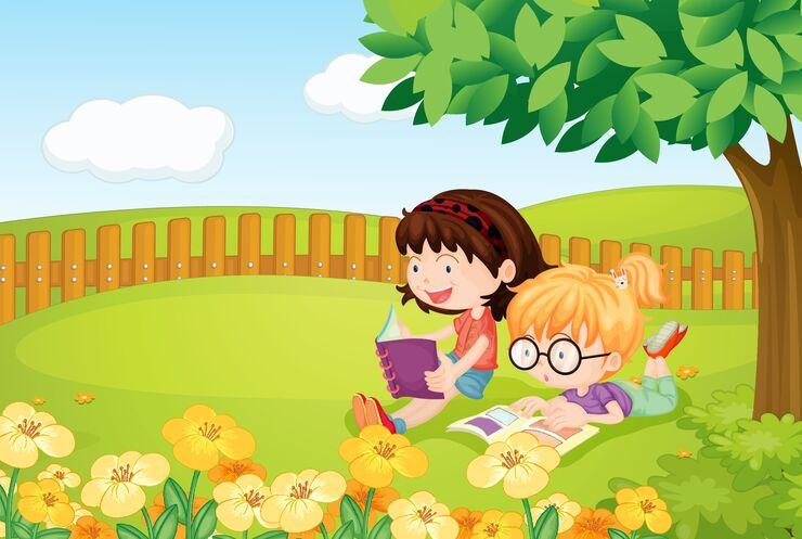 Børn læser bøger