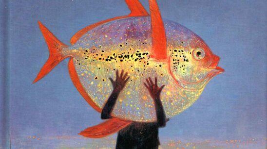"""Tegning af barn, der holder en enorm fisk - forsiden af bogen """"Cityfortællinger""""."""