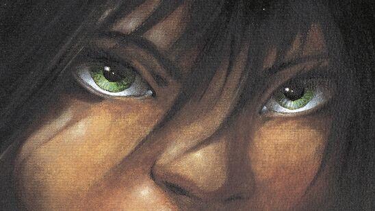 """Udsnit af forsiden af """"Skammerens datter"""": grønne øjne omkranset af mørkt hår"""