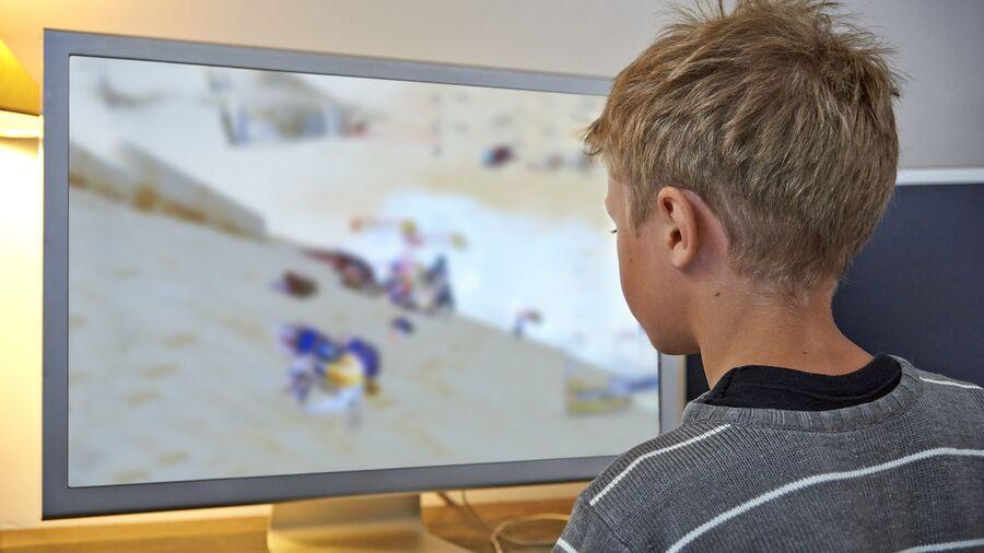 Barn ved computerskærm