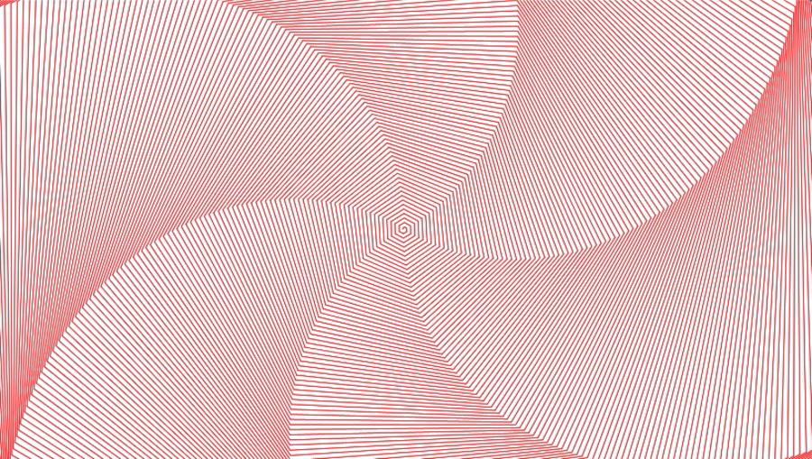 Spiral-grafik i rød og hvid lavet med kode.