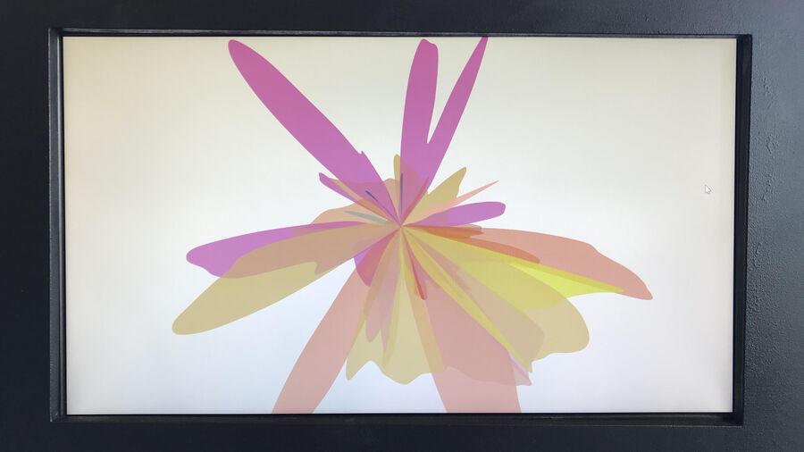 I en af installationerne i sæsonens udstilling kan du via en computer lave kunst med din stemme.