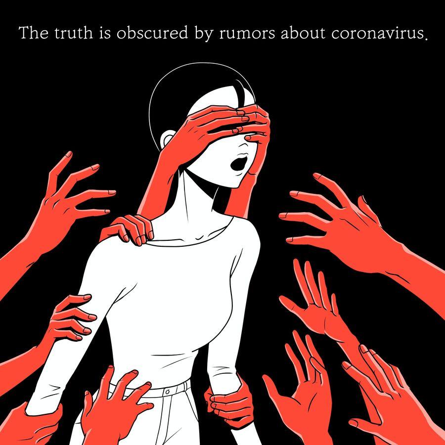 """Tegnet illustration fra FN: arme rækker ud efter og holder menneske for øjnene. Tekst i billedet """"The truth is obscured by rumors about coronavirus""""."""